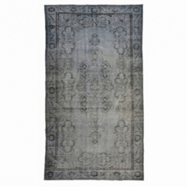 Vintage recoloured rug color grey (280x156cm)