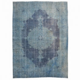 Vintage recoloured rug color indigo (295x210cm)