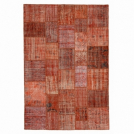 Vintage tapis de patchwork couleur orange (206x304cm)