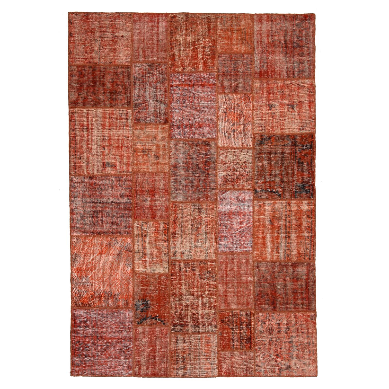 Orange vintage patchwork flicken teppich (206x304cm)