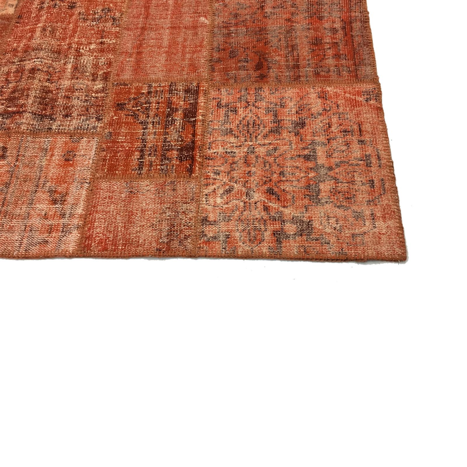 orange vintage patchwork flicken teppich 206x304cm. Black Bedroom Furniture Sets. Home Design Ideas