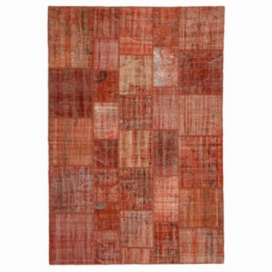 Vintage patchwork flicken teppich farbe orange (206x304cm)