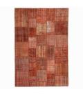 Vintage patchwork flicken teppich farbe orange (206x304cm)