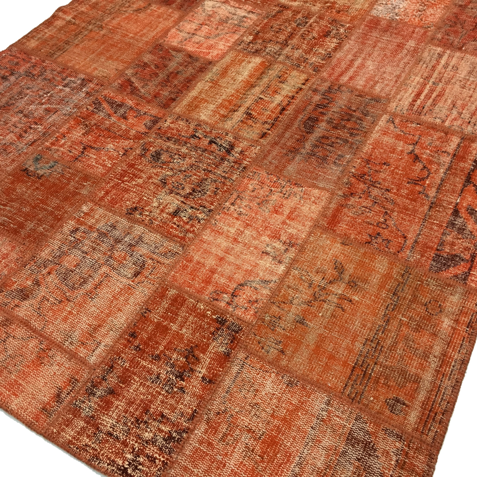 Teppich orange  Orange vintage patchwork flicken teppich (206x304cm)
