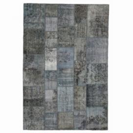 Vintage tapis de patchwork couleur indigo (204x303cm)