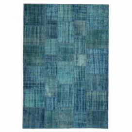 Vintage tapis de patchwork couleur turquoise (205x298cm)