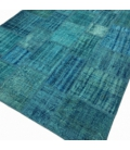 Vintage patchwork rug color turquoise (205x298cm)