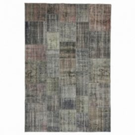 Vintage patchwork flicken teppich farbe grau (200x298cm)