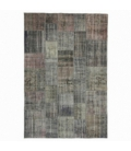 Vintage patchwork rug color grey (200x298cm)