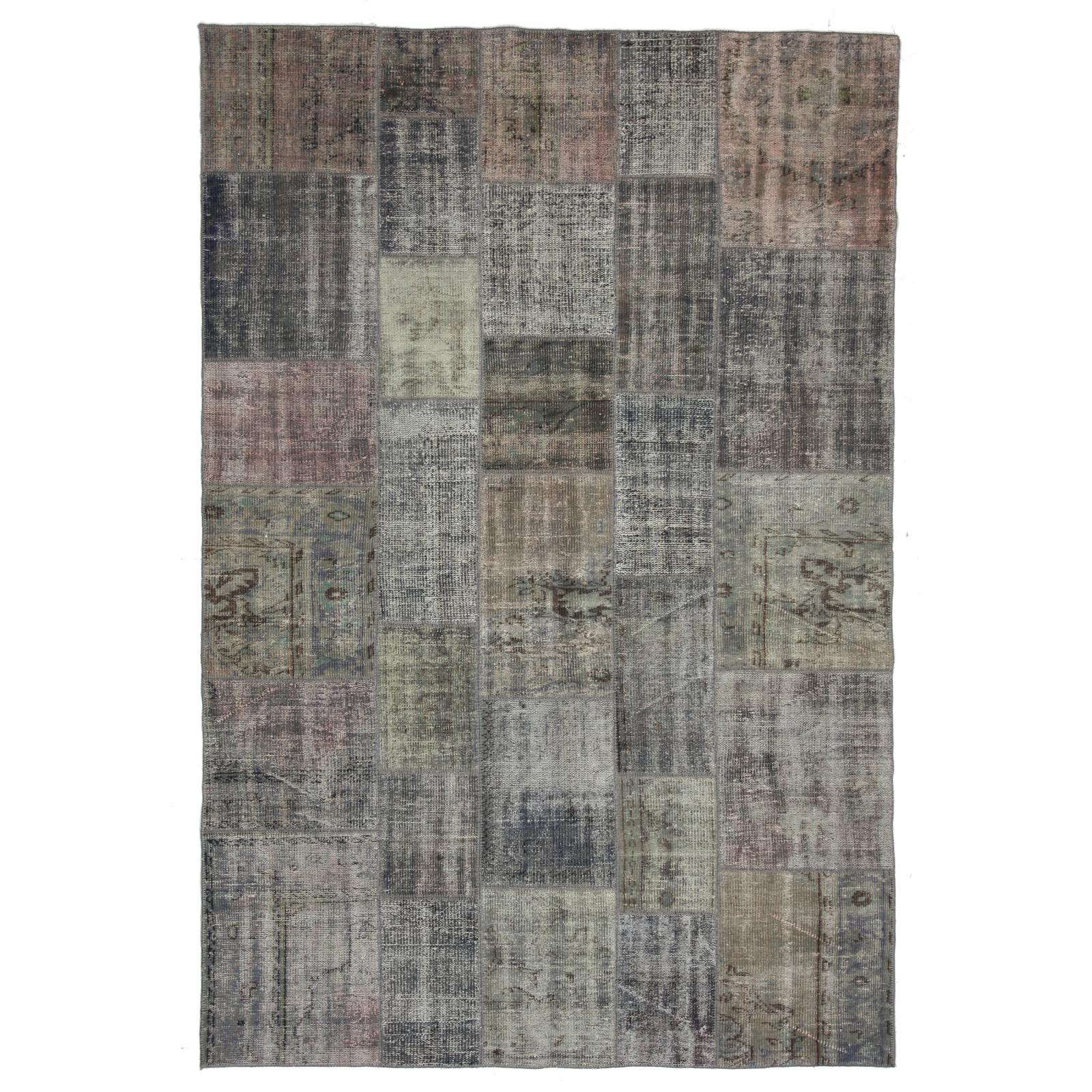 grau vintage patchwork flicken teppich 200x298cm. Black Bedroom Furniture Sets. Home Design Ideas