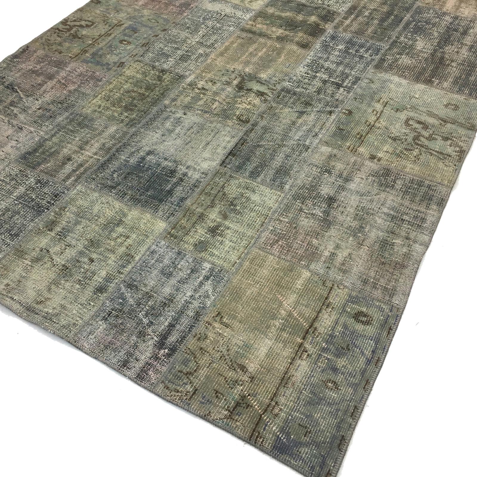 grau vintage patchwork teppich 200x298cm. Black Bedroom Furniture Sets. Home Design Ideas