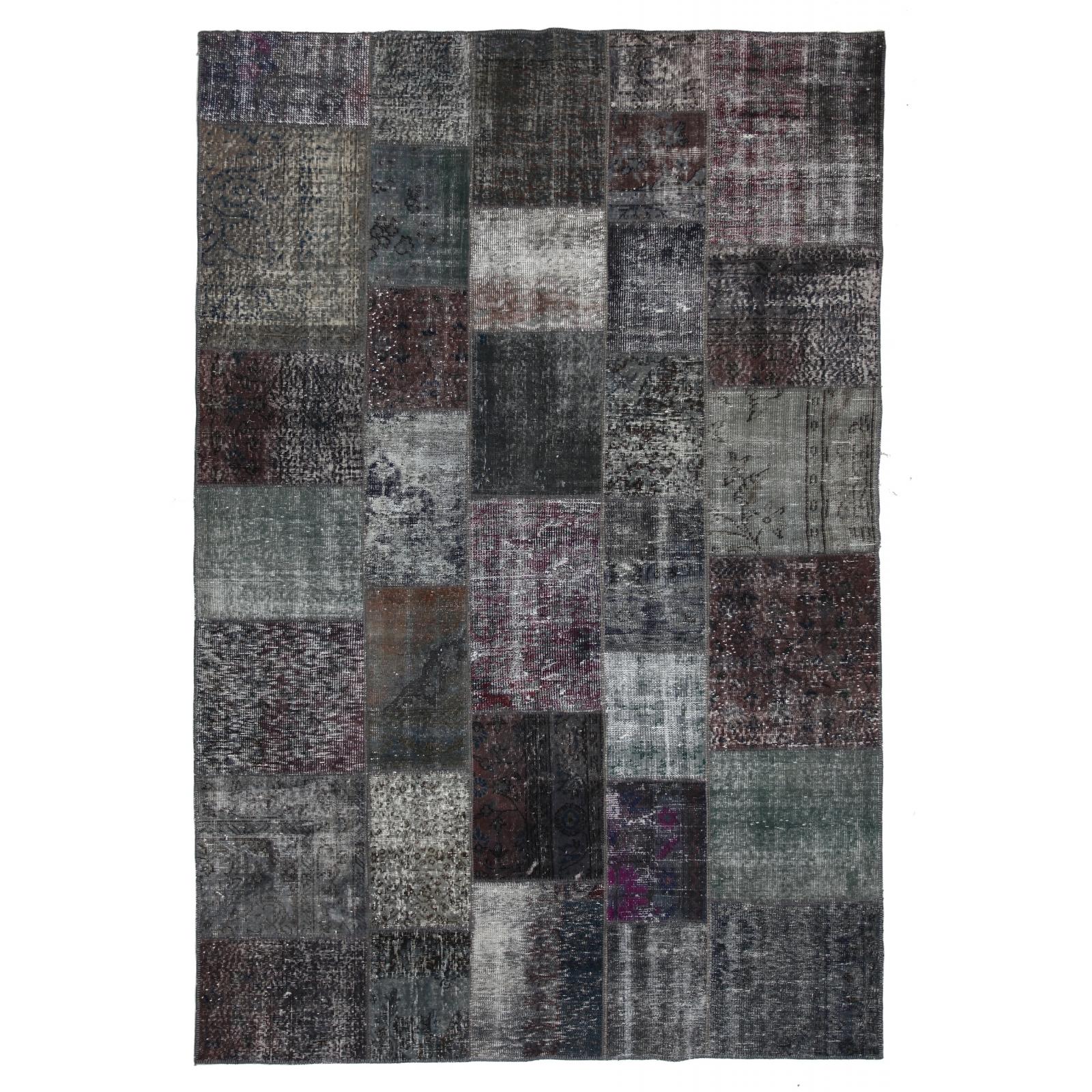 Grau vintage patchwork teppich (200x300cm)