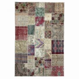 Vintage patchwork flicken teppich farbe natural (197x300cm)