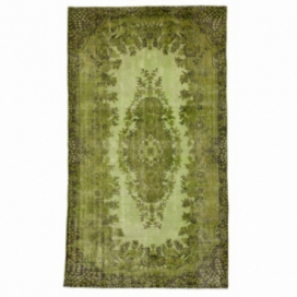 Vintage recoloured rug color green (166x285cm)