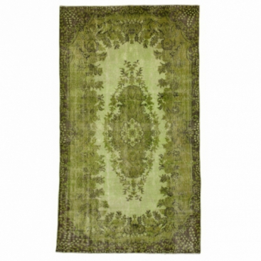 Vintage recoloured rug color green (166x285cm)