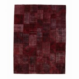 Vintage patchwork flicken teppich farbe bordeux red (276x370cm)
