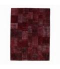 Vintage patchwork rug color bordeux red (276x370cm)