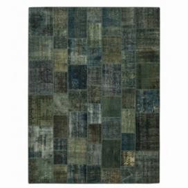 Vintage tapis de patchwork couleur indigo (365x276cm)