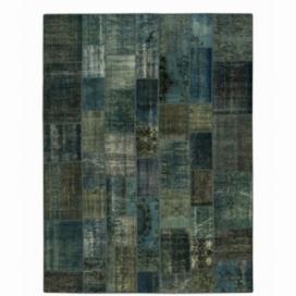 Vintage tapis de patchwork couleur indigo (268x275cm)