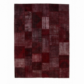 Vintage patchwork rug color bordeaux red (304x410cm)