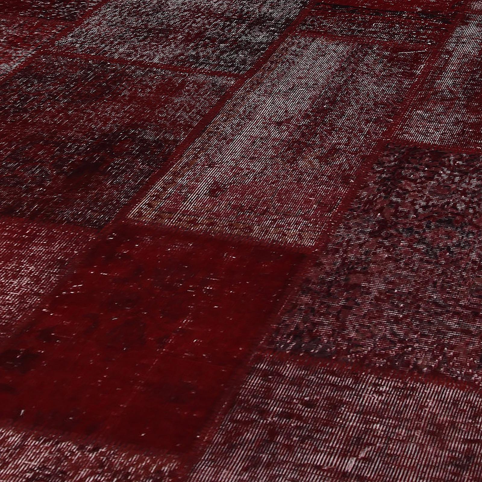 Bordeaux rot vintage patchwork flicken teppich (304x410cm)