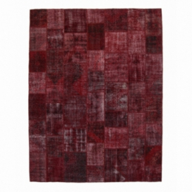 Vintage patchwork rug color bordeaux red (306x400cm)