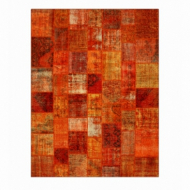 Vintage patchwork rug color orange (357x275cm)