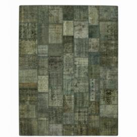 Vintage tapis de patchwork couleur bleu (363x275cm)