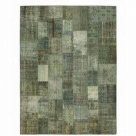 Vintage alfombra retazos color gris (368x274cm)