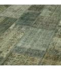 Vintage patchwork rug cor cinzento (368x274cm)