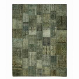 Vintage alfombra retazos color gris (368x275cm)