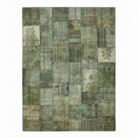 Vintage patchwork rug color grey (405x305cm)