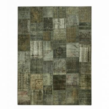 Vintage patchwork flicken teppich farbe dark grey (405x307cm)