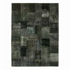 Vintage patchwork rug color dark grey (413x305cm)