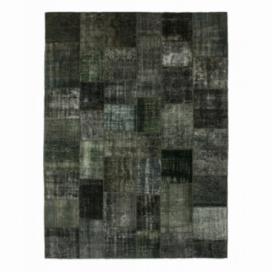 Vintage patchwork rug color dark grey (413x305cm)