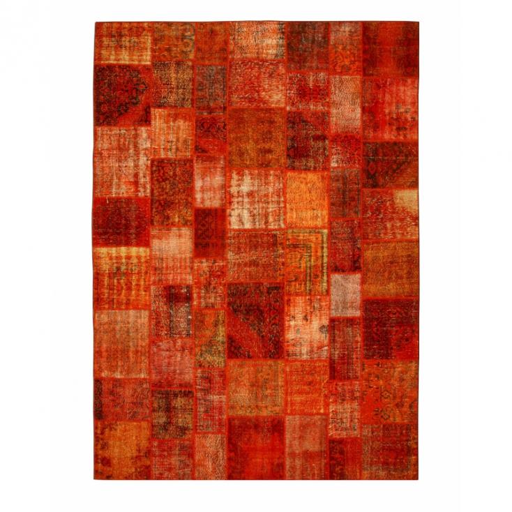 Orange Vintage Patchwork Flicken Teppich 430x300cm
