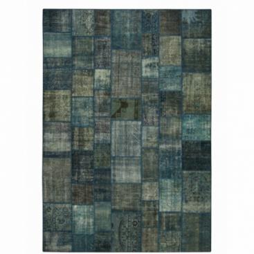 Vintage tapis de patchwork couleur indigo (431x300cm)