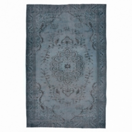 Vintage recoloured rug color dark blue (287x164cm)