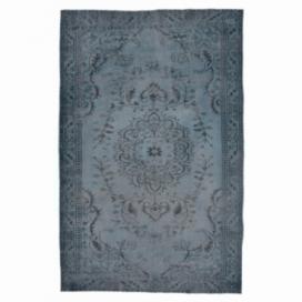 Vintage tapis recolorés couleur bleu foncé (287x164cm)