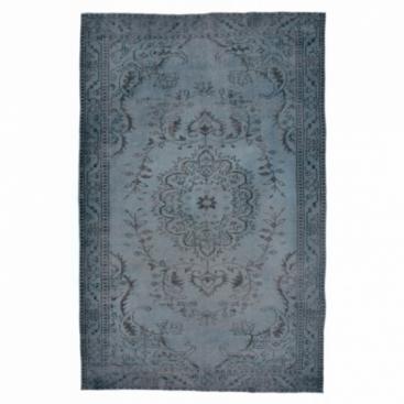 Vintage recoloured rug color dark blue (287x164cm)