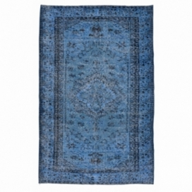 Vintage recoloured rug color dark blue (243x147cm)