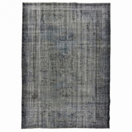 Vintage recoloured rug color gray brown (234x166cm)