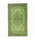 Vintage recoloured rug color green (165x278cm)