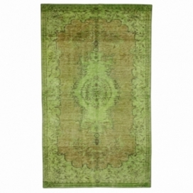 Vintage recoloured rug color green (157x261cm)