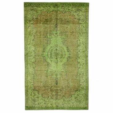 Vintage recoloured rug color green (157x261cm)