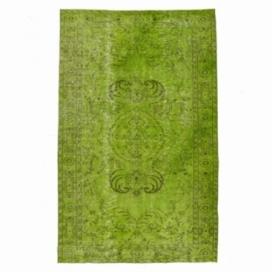 Vintage recoloured rug color green (162x258cm)