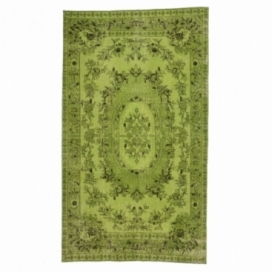 Vintage recoloured rug color green (155x270cm)