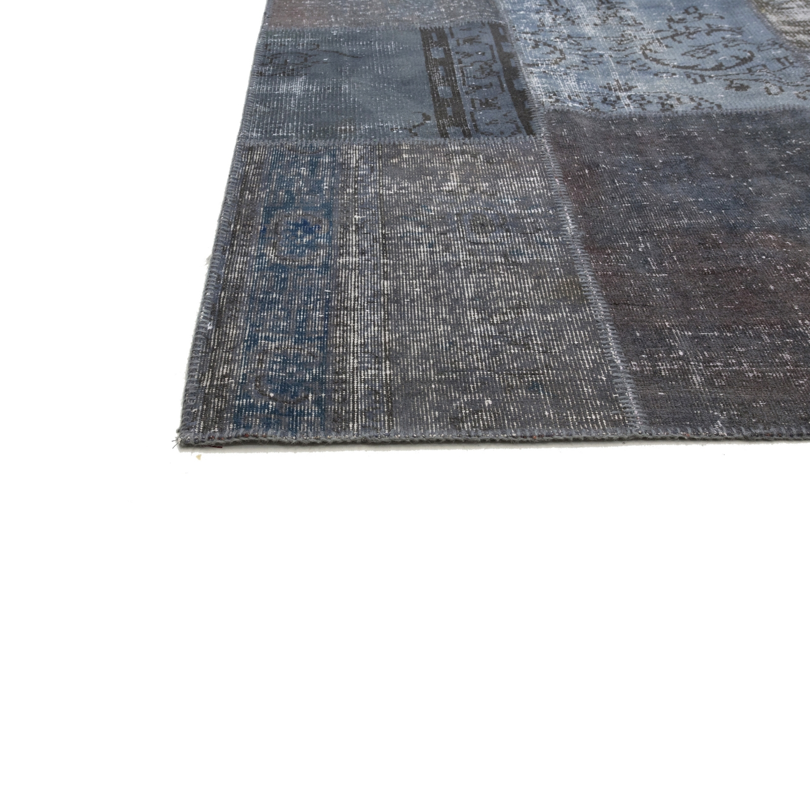 gris fonc vintage tapis de patchwork 197x303cm. Black Bedroom Furniture Sets. Home Design Ideas