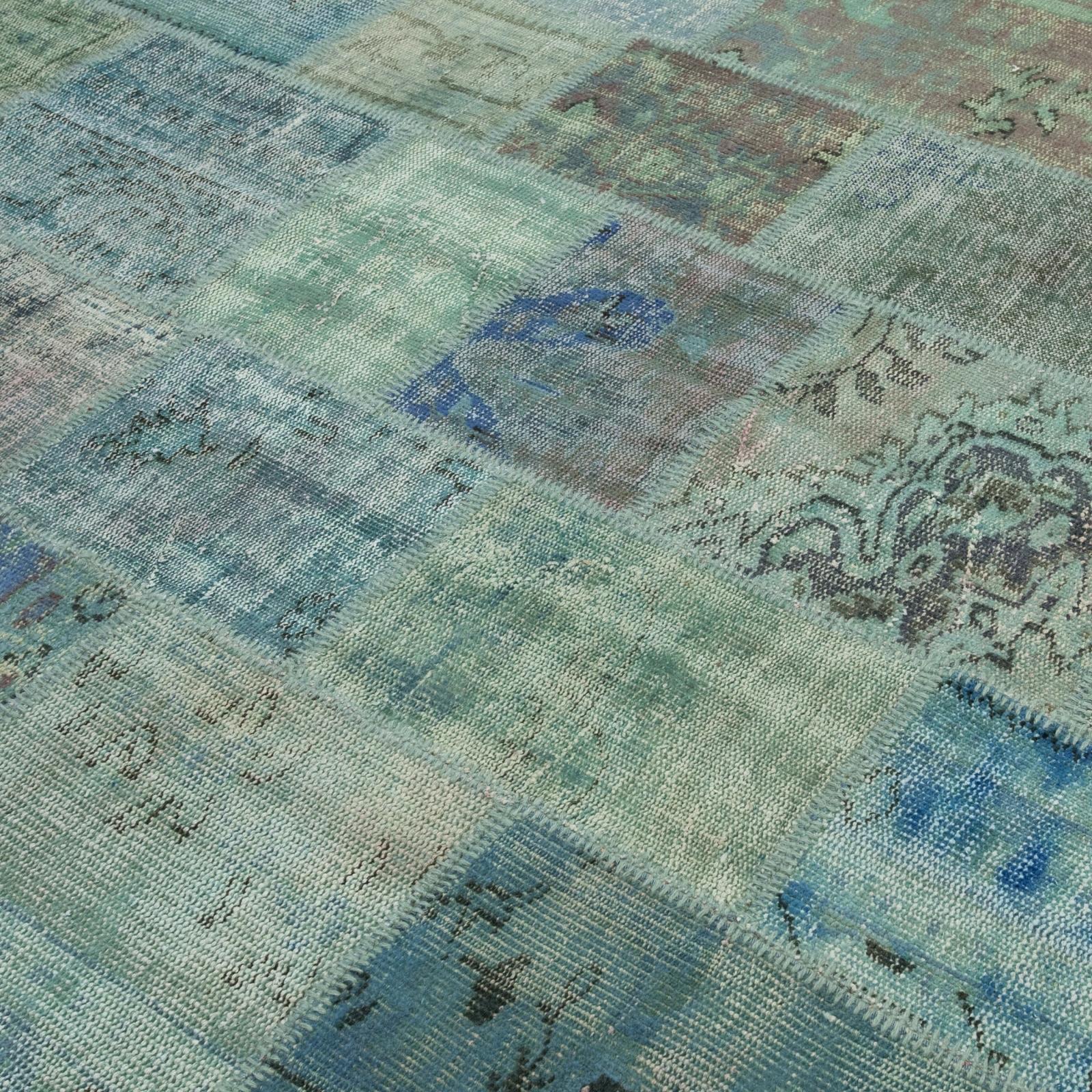 turquoise vintage patchwork flicken teppich 201x298cm. Black Bedroom Furniture Sets. Home Design Ideas