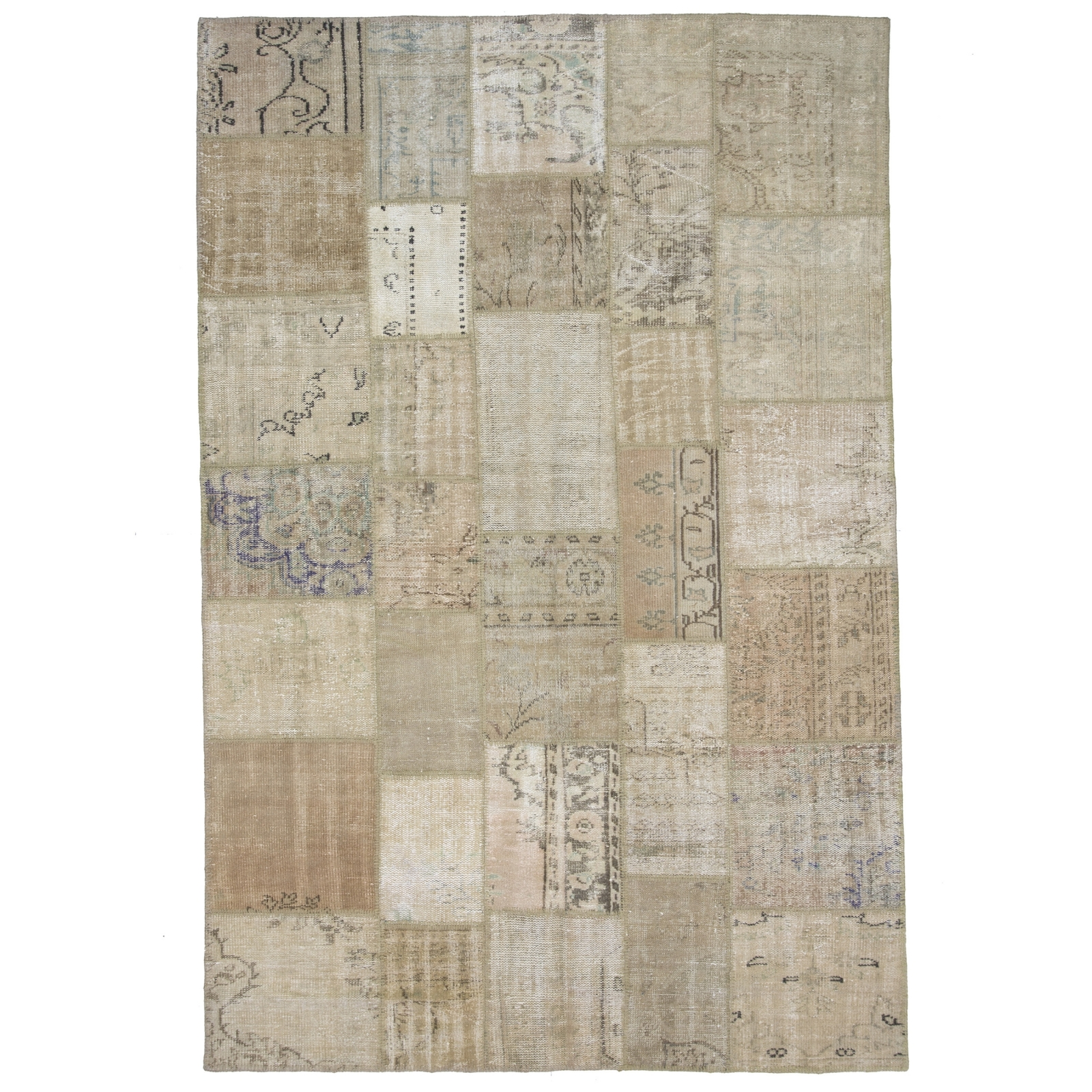 beige white natural teinths vintage patchwork flicken teppich 202x303cm. Black Bedroom Furniture Sets. Home Design Ideas